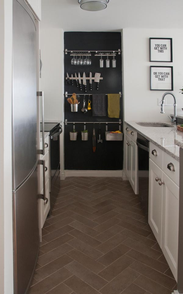 small kitchen design diagonal-floor-tiles