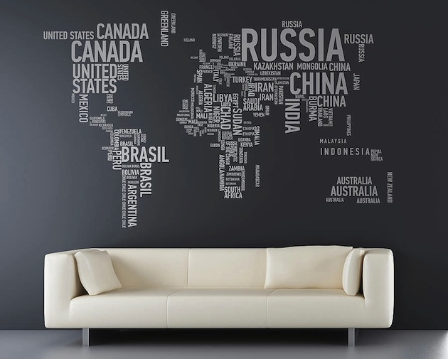 Typographic World Map Wall
