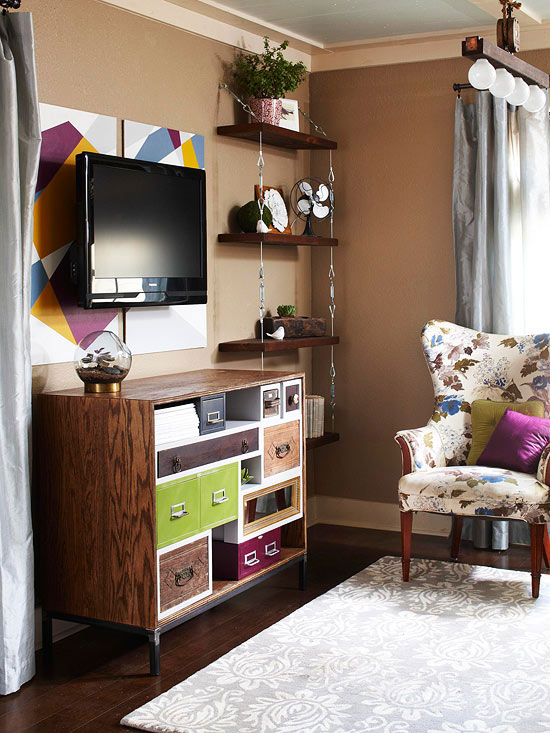 small apartment furniture tv mounted on wall