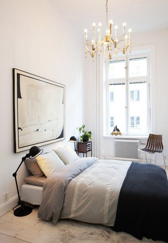 young couples apartment bedroom-chandelier