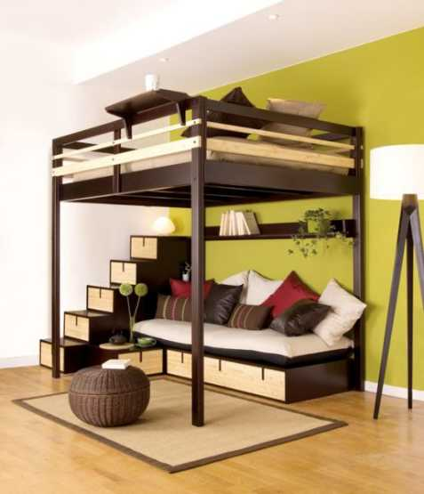 young couples apartment bedroom-loft-bed