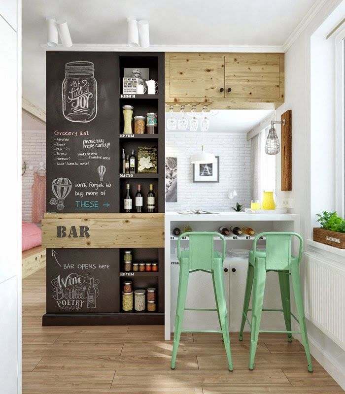 young couples apartment kitchen-blackboard