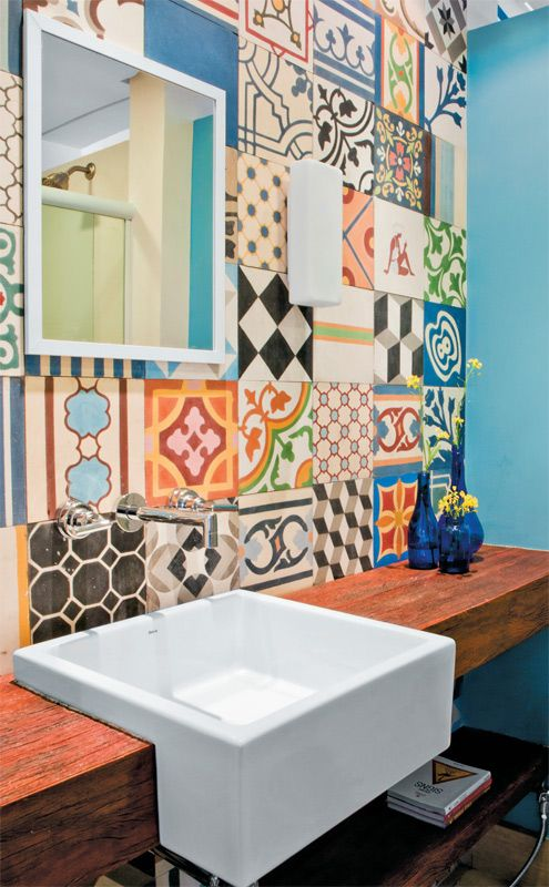 young couples apartment eclectic bathroom-tiles