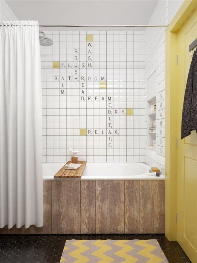 Young Couples Apartment Bathroom Word Puzzle Tiles