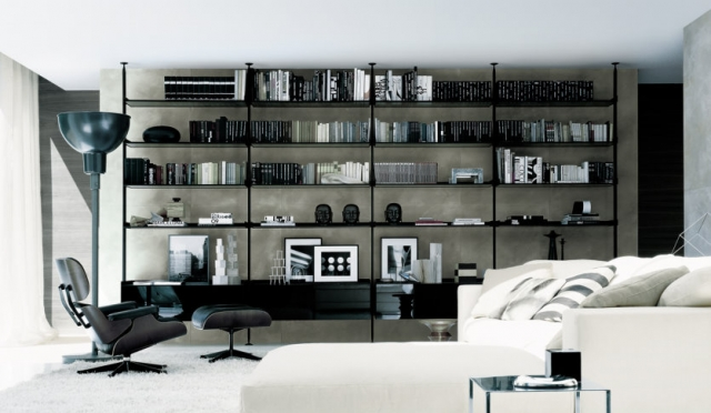 living room decorating ideas high-tech-rimadesio-bookshelf