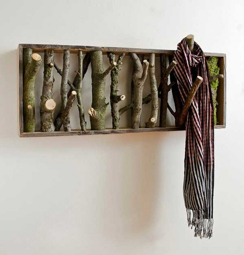 rustic home decor ideas logs coat hanger