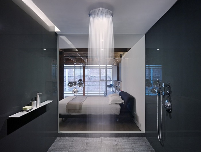 shower with a bedroom view