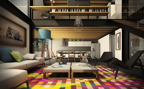 living room space with colorful rug