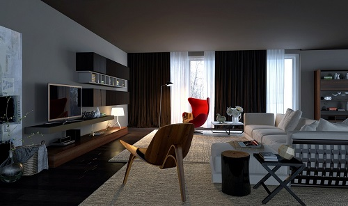 dark and spacious living room