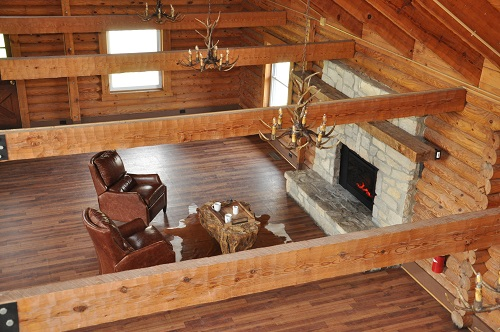 rustic room with beams