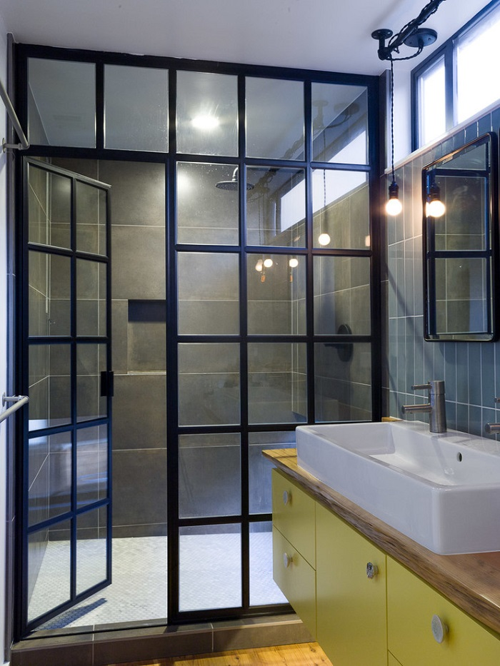 walk in shower with metal frames