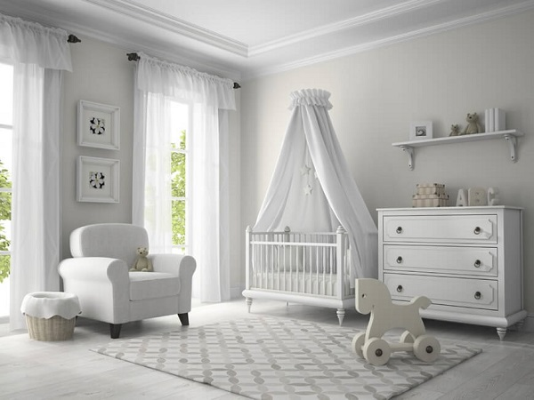 all white baby room