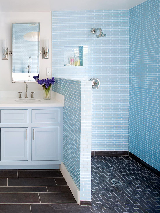 walk in shower with blue accents