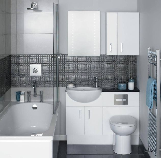 bath room in small scale with dark and light accent