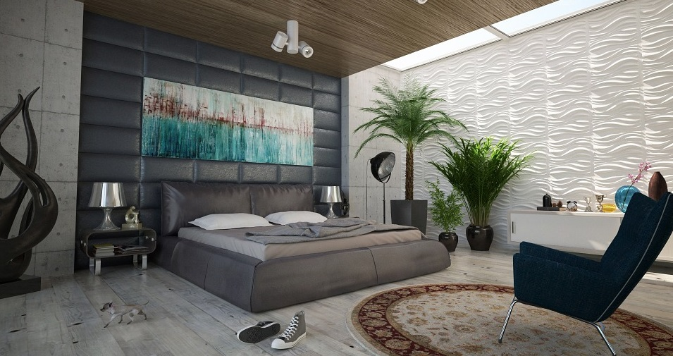 bedroom with plants and chair