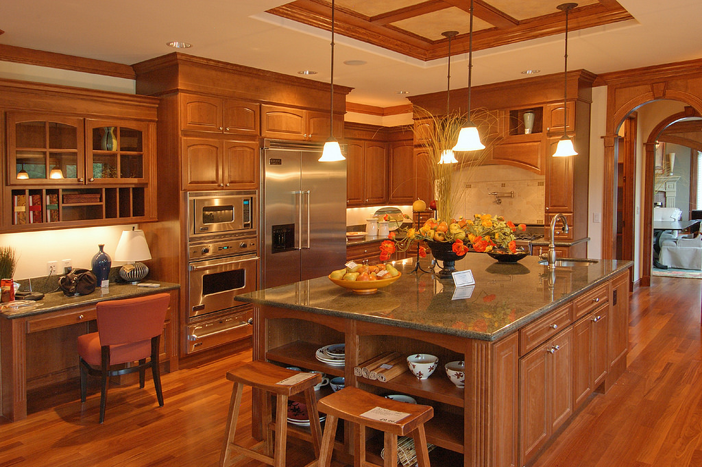 kitchen in vintage color with a kitchen island in base cabinet with countertop