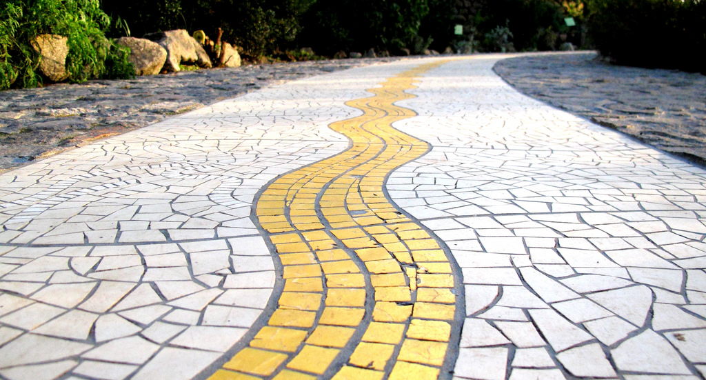 a mosaic path at the garden
