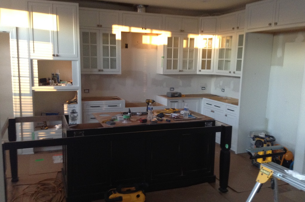 remodeling kitchen process during sunrise time.