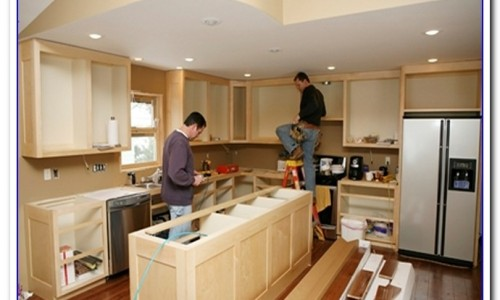 a kitchen remodeling by a two man
