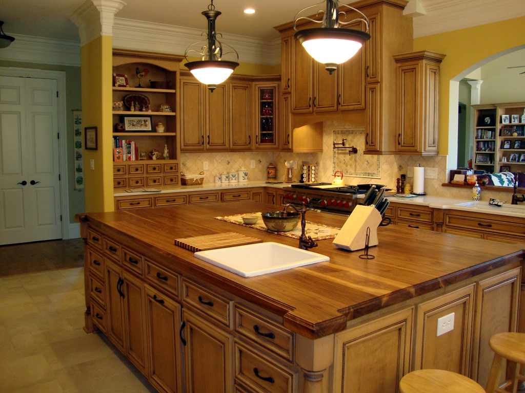 kitchen island cutting board with wood accent