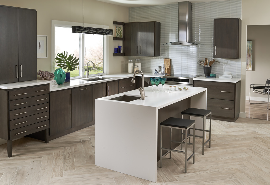 single Kitchen Islands Topped With Waterfall Countertops in white and dark gray accent