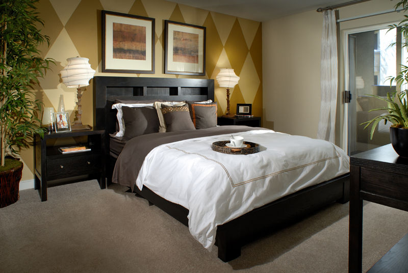 modern design of bedroom in a dark and light accent and sliding door