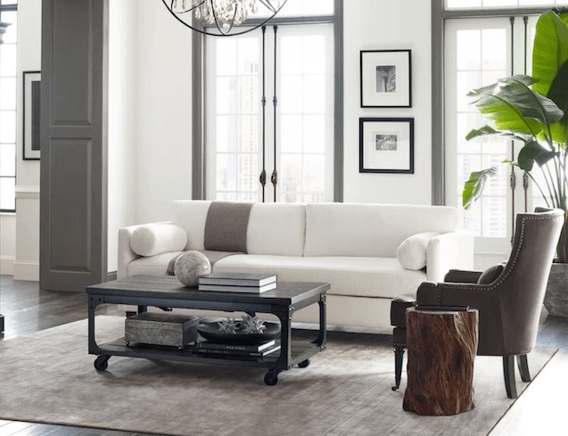living room in white and gray accent with wide open door and furnitures made by wood